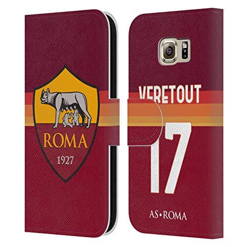 Head Case Designs Licenza Ufficiale AS Roma Jordan Veretout 2020/21 Giocatori Home Kit Gruppo 1 Cover in Pelle a Portafoglio Compatibile con Samsung Galaxy S6