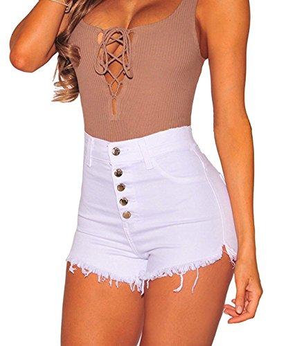 Tengo Womens High Waist Microstretch Cotton Denim Shorts(White,XL)