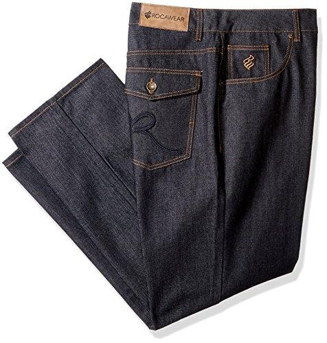 Rocawear Men's R Script Flap Jean, Raw Blue/Navy, 50