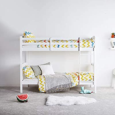 VonHaus White Bunk Bed – 3FT Bed Frame – Splits Into 2 Single Beds – Pine Bedroom Furniture – Mattress Not Included