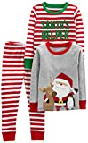 Simple Joys by Carter's Boys' Little Kid 3-Piece Snug-Fit Cotton Christmas Pajama Set, Red/White Stripe/Santa, 4