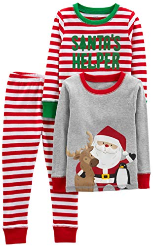 Simple Joys by Carter's Boys' Toddler 3-Piece Snug-Fit Cotton Christmas Pajama Set, Red/White Stripe/Santa, 2T