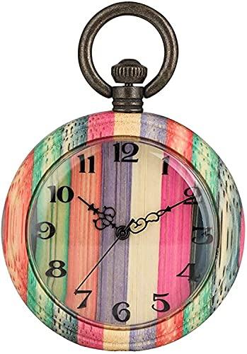 Cadena de reloj de bolsillo Reloj de cuarzo de bambú colorido atractivo para el reloj de bolsillo de madera clásico femenino para Lady Light Light Patrón con encanto reloj de bolsillo natural Para hom