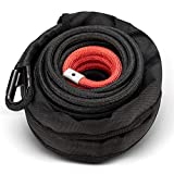 """BUNKER INDUST Synthetic Winch Rope 3/8"""" x 85',26000Ibs Winch Cable Line Extension with Winch Jacket Rope and Sleeve Protection for 4WD 4x4 Offroad Jeep ATV UTV SUV Truck Car Vehicle"""
