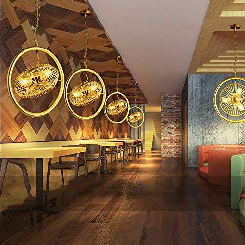 YZYZYZ LED E27 Viento Industrial Retro Creativo Hebilla de Hierro Negro/Oro Ventilador Ajustable Tres Bar Restaurante Bar Contador araña/lámparas (Color : Yellow)