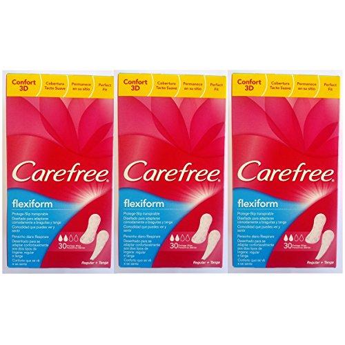Carefree FlexiForm protège-slips ajustement Parfait 3d avec une couverture Soft Touch – Regular + tanga – Lot de 3 x 30