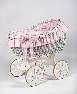 comprar comparacion Cesta de mimbre, moisés «Bianca DUE Pink Spoke» blanco & rosa, la cuna, cuna de MJmark