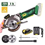 Circular Saw Cordless, POPOMAN 4-1/2' Mini Saw 20V, 1H Fast Charger, 9.5'' Base Plate, One...