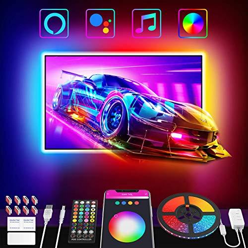 Nobent Striscia Led 3M, Intelligente RGB Retroilluminazione LED TV con Sincronizza con la Musica APP Controlled , per TV 32-55 pollici USB Luci Led Compatibile con Alexa Google Assistant