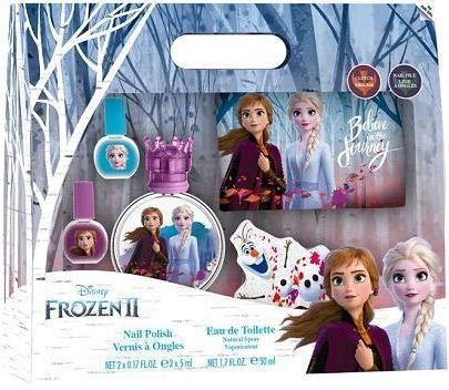 Frozen II Eau de Toilette 50ml, Nageldesign und Tasche: Anna & Elsa Parfüm im schönen Glasflakon mit Krönchen-Verschluss, Nagellack und Täschchen, 1er Pack, (50ml)