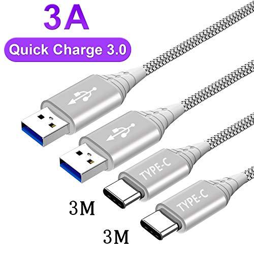 USB C Ladekabel für Samsung Galaxy A50 A40 A20E A51 A71 A41 A31 A70 A80 A90 5G,Huawei P30 P20 Lite Pro,Mate 20 30,Xiaomi Redmi Note 7 8 9S 9 Pro Max 8T,Mi 10 9 SE 9T,Honor,Typ C Kabel 3M+3M,3A Schnell