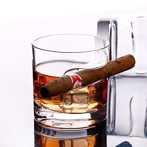 DNGDD Vaso para Puros, Vasos Redondos de Vidrio de Acero Duradero con Soporte para Puros, 1 par, 300 ml para Cerveza, Fumador de Puros de Whisky y Brandy