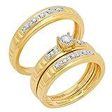 Juego de tres anillos de compromiso y boda de oro de 10 quilates y diamante blanco redondo de 0,17 quilates para hombres y mujeres