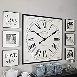 FirsTime & Co. Love Frame Gallery Set Wall Clock, 20 6 Plaques, White