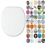 Bild vom Toilettendeckel in vielen farben und mustern