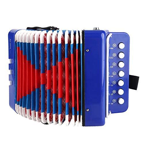 Juguete de acordeón para niños, azul, 2 bajos, 7 teclas, botón ecológico para niños, acordeón, ligero para principiantes, niños