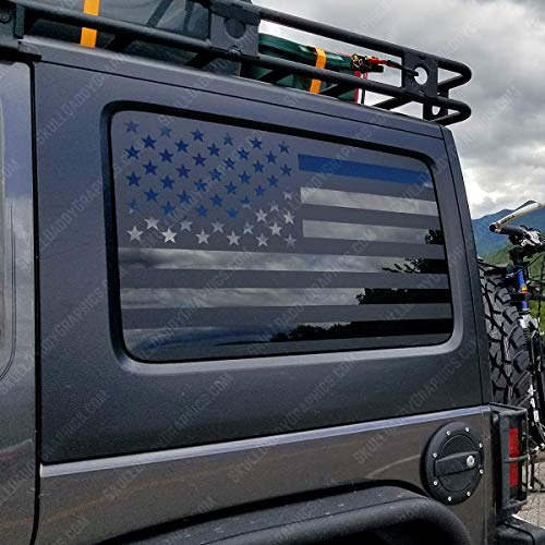 Skull Daddy Graphics JKU JK Hard top Window Flag Decals Stickers Compatible with Jeep Wrangler 2007-2017 (JKU Driver Side ONLY)