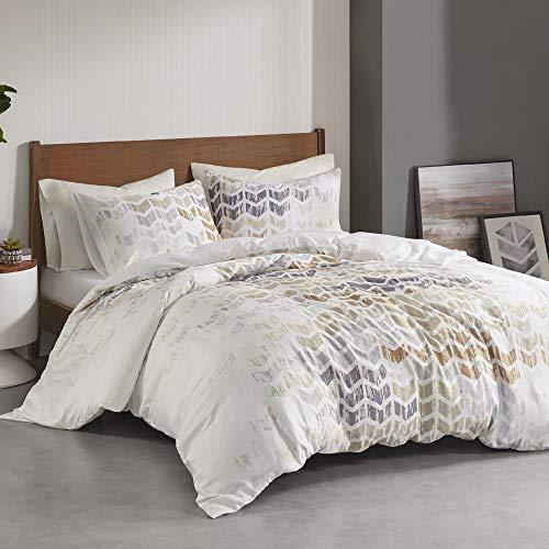 Intelligent Design Reversible 100% Cotton Sateen Duvet - Breathable Comforter Cover, Modern All Season Bedding Set with Sham (Insert Excluded), Cape, Chevron Grey King/Cal King(104