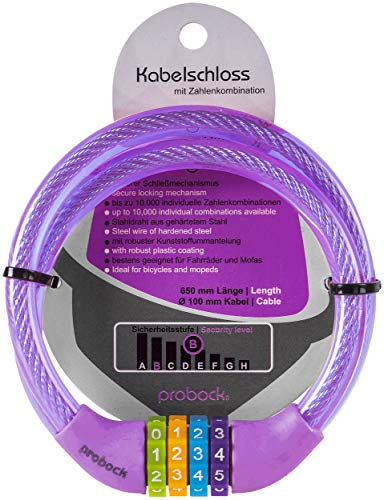 probock Fahrradschloss für Kinder Zahlen-Code-Kombination-Kabel-Schloss für Kinderfahrrad Laufrad - Maße 10 x 650 mm   Edition 2021 (Lila)
