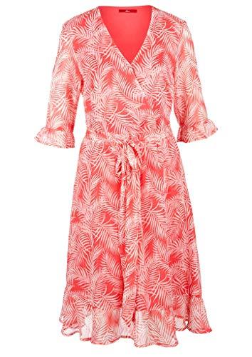 s.Oliver Damen Crêpe-Kleid mit Volants coral AOP 34