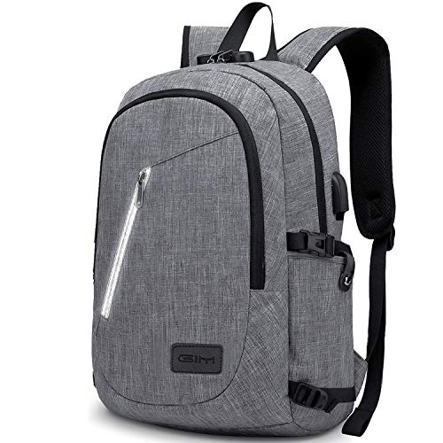 Anti-Theft Backpack with RFID, ICETEK Business Laptop School Backpack with USB and Earphone Port with Lock Slim Bag Daypack 15.6 Inch Computer Rucksack for Work College (Grey)