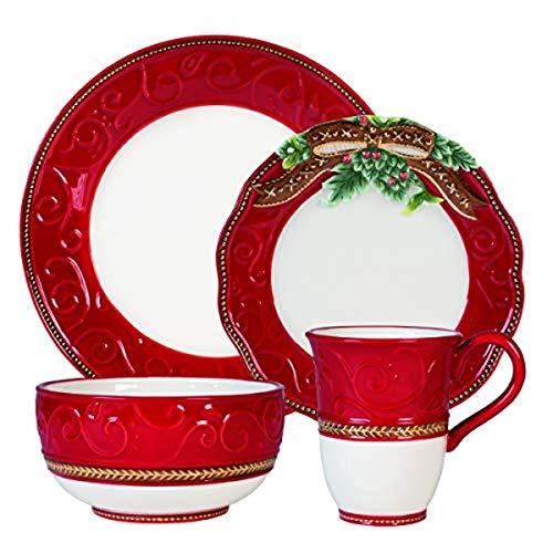 Fitz and Floyd Yuletide Holiday Dinnerware Set, Standard, Multicolored