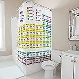 Toomjie Duschvorhang Periodensystem Printed Wasserdichtes Design Vorhang B x H:180x200cm Badewannenvorhang für Badewanne white3 200x200cm