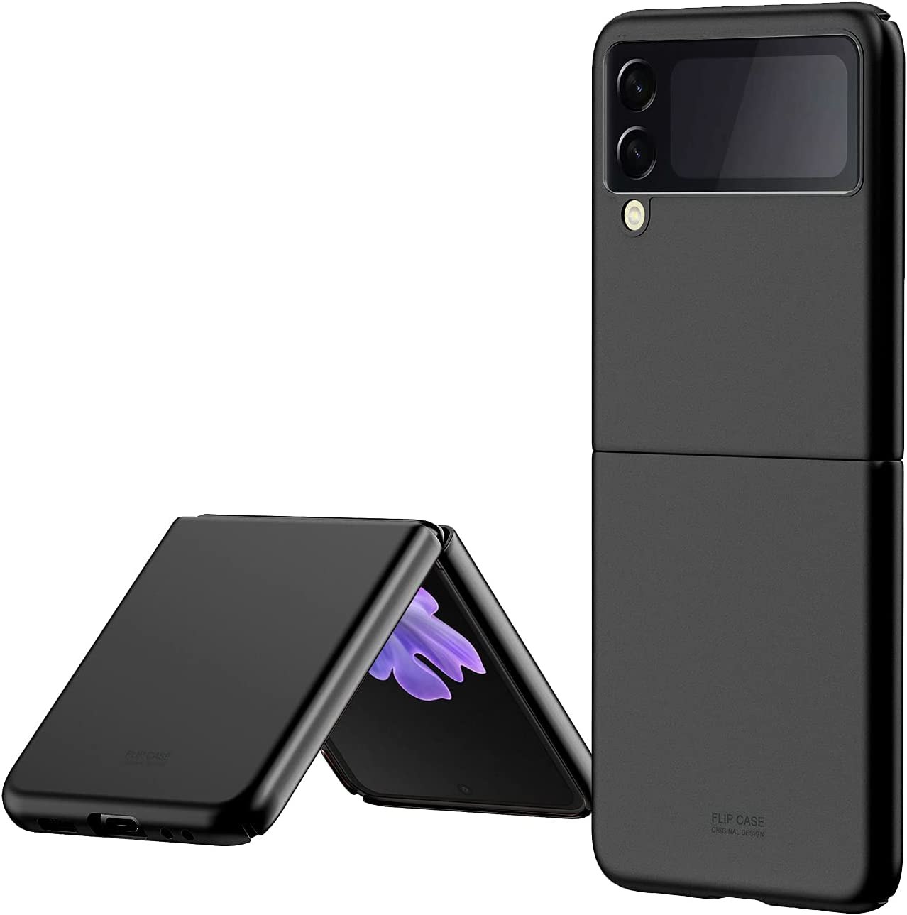 Galaxy Z Flip 3 Case, Shockproof Protective Anti-Scratch Cases with Reinforced Corners Bumper Edges, Compatible with Galaxy Z Flip 3 (Black)