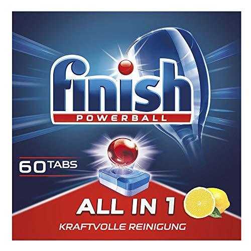 Finish All in 1 Citrus Spülmaschinentabs, phosphatfrei – Geschirrspültabs mit kraftvollem Powerball gegen hartnäckigste Fettanschmutzungen – XXL Großpackung mit 60 Finish Tabs