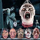 DODY 6 Piezas de Halloween Novedad Casco Decoraciones de Cabeza Cortadas de Miedo, tamaño Real, Sangriento Cortado, Cabeza de cadáver, Fantasma, Cabeza de Zombi Animada, para decoración de Fiestas