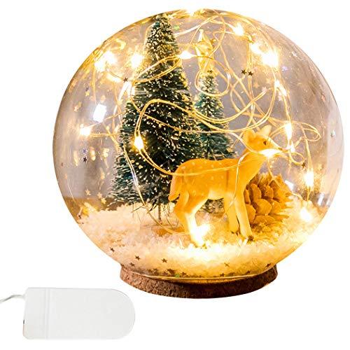 JUSTDOLIFE Weihnachtsglaskugel Licht Inneneinrichtungs Tabellen Nachtlicht Nachttischlampe