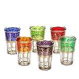 albena Marokko Galerie 17-110 Aros 6 Vasos de té marroquíes Multicolores/Dorado