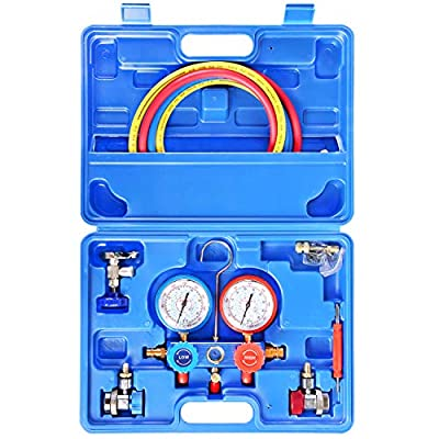 JIFETOR 3 Way AC Manifold Gauge Set, HVAC Diagnostic Freon Charging Tool for Auto Household R22 R134A R404A R410A Refrigerant, 5FT Hose Adjustable Quick Coupler Can Tap R410A Adapter