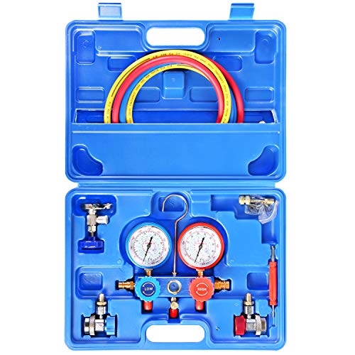 JIFETOR 3 Way AC Manifold Gauge Set, HVAC Diagnostic Freon Charging Tool for Auto Household R22 R134A R404A R410A Refrigerant, 5FT Hose Adjustable Quick Coupler Can Tap R410A Adapter (Blue Manifold)