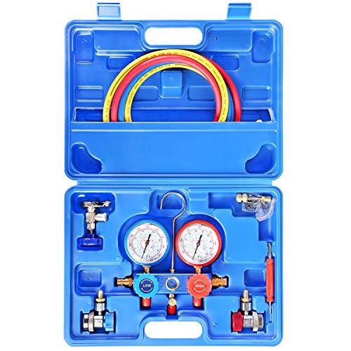 JIFETOR Juego de manómetro de 3 vías AC de diagnóstico HVAC herramienta de carga freón para el hogar de automóviles R22 R134A R404A R410A R410A refrigerante, con manguera de 5...