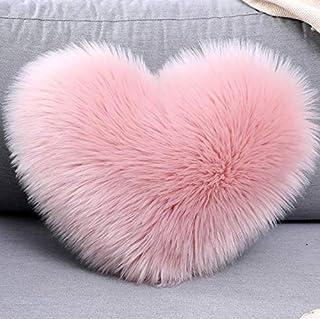 LEEYYO Funda de cojín con forma de corazón rosa, lavable de felpa, apta para decorar la sala de estar, sofá o dormitorio, 40 x 50 cm