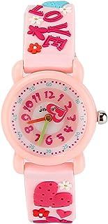 JIAN YA NA Children's Watch Waterproof 3D Cute Cartoon Design Round Dial Silicone Rubber Jelly Color Watch Band Xmas Gifts Quartz Wristwatch for Little Girls Boy Kids Children (Pink(3D Love))