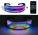 Lixada Gafas de Fiesta LED BT Control de Aplicación Gafas con Luz LED Parpadeante Gafas Luminosas Brillantes USB Recargable Animación de Bricolaje para Navidad Fiesta de Cumpleaños Discoteca