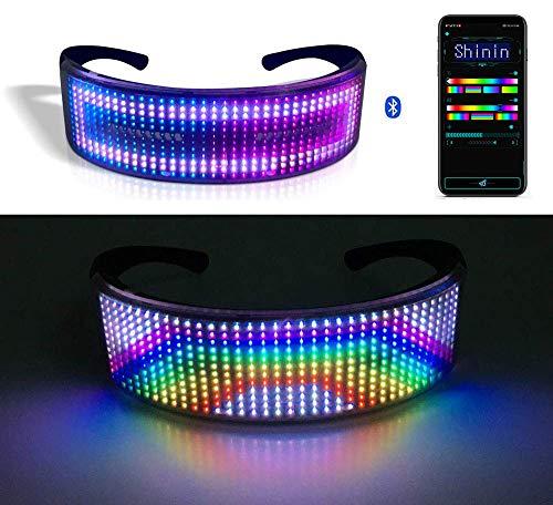 Lixada Einzigartige Bluetooth-LED-Gläser, LED Brille Bluetooth APP Steuerung für Party | DIY Flashing Emotions Sonnenbrille für Männer Frauen Kinder | USB wiederaufladbar