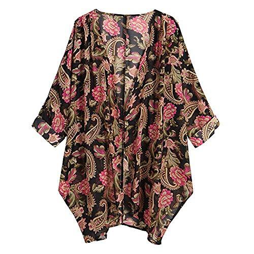 ESAILQ Women Shawl Kimono Cardigan Top Chiffon Loose Shawl Print Cover Up Blouse Womens Beach Cover up Chiffon Floral Boho Summer Cardigan Kimono Blouse