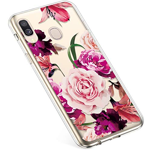 Uposao Coque pour Samsung Galaxy A40 Silicone Etui, Galaxy A40 Coque Transparent avec Motif Fleur Crystal Clear Case Premium Semi Hybrid Ultra Mince Slim Soft TPU Antichoc Bumper,Rose Rose