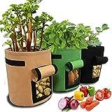 PETEMOO 3er Pack Kartoffel Pflanzsack, Pflanzen Tasche, Pflanze Wachsende Tasche, 7 Gallons Growing Bags Garten Übertopf Vliesstoff Pflanzsack Mit Griffe/Fenster/Klettverschluss