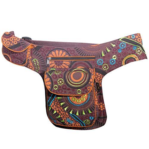 KUNST UND MAGIE Goa Schulter/Bauchtasche Gürteltasche Bauchgurt Hippie Psy, Farbe:Braun