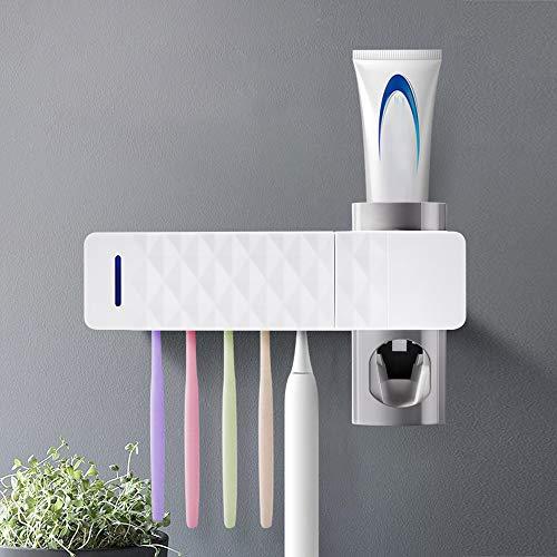 ABEDOE Sterilizzatore Spazzolino UV, Dispenser Automatico di Dentifricio Alimentato Tramite USB Contenitori per Spazzolino 5 Pezzi a Parete per Bagno, Famiglia