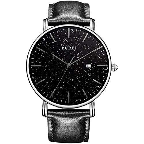BUREI Herrenuhr Ultra Thin Minimalist Armbanduhren Klassisches Silbergehäuse Großes Sternenhimmel Schwarzes-Zifferblatt Schwarz Hands Kalenderfenster mit Lederband