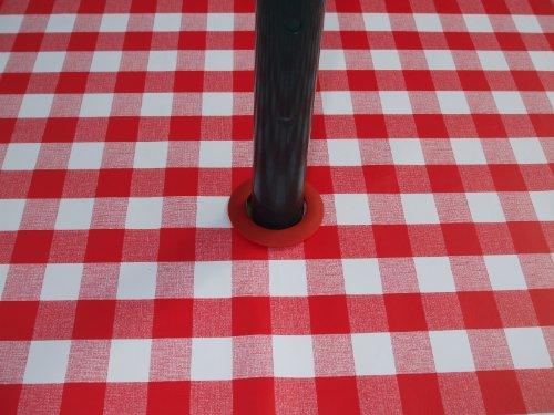 THE TABLECLOTH COMPANY 140 x 250 cm Nappe Ovale en PVC/Vinyle – Vichy Rouge avec Trou Parasol