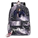 ZZGOO-LL Haikyuu!!Hinata Shoyo/Tobio Kageyama with Chain USB Mochila de Anime Backpack para niños y niñas Adolescentes Unisex Gray-B