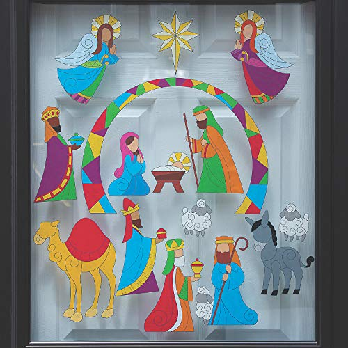 Stained Glass Nativity Window Clings - 15 Piece Sticker Set - Christmas Window Decor