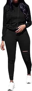 Wadonerful 2 Pcs Sportwear Set Women O Neck Long Sleeve Hoodie Hole Sweatshirt Top+Drawstring Pants Sport Suit Tracksuit (L, Black)