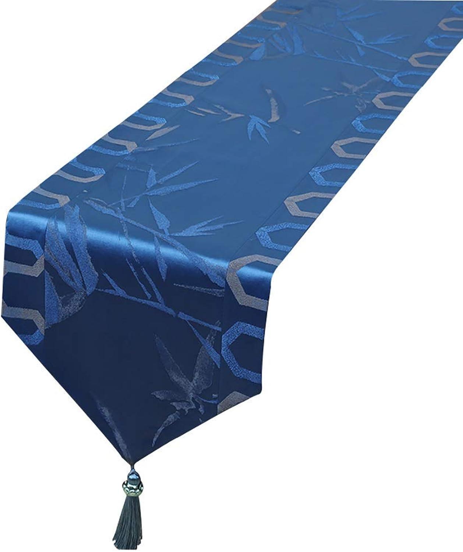 GONGFF ZCJB Table Lavable, Drapeau de Table en Bambou, Coton et Nappe, Table de Cuisine grand de 33 cm (Bleu) (Taille  33x180cm)